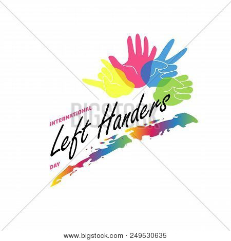Left Handers Day Stylish Concept. Vector Flat Illustration With Left Palms Isolated On White Backgro