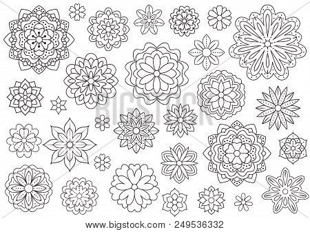 Outline Doodle Flowers For Adult Coloring Book. Beautiful Floral Background For Color Artwork. Monoc