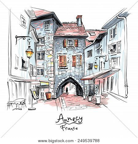Vector Hand Drawing, City View With Gorgeous Medieval Arch Gate Sepulchre Gate On The Street Rue Sai