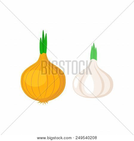 Garlic And Onion Vegetable Clipart Simple Icon. Garlic And Onion Cartoon Symbol.