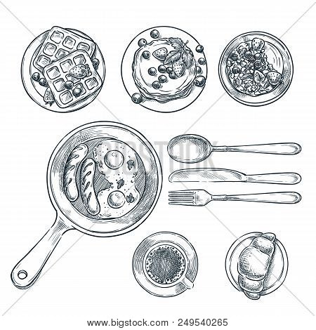 Cooking Breakfast, Vector Top View Sketch Illustration. Set Of Isolated Hand Drawn Morning Meal. Res