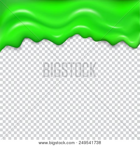 Green Seamless Dripping Slime. Repeatable Isolated Vector With Glares And Highlights On Transparent