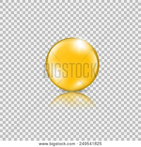 Gold Drop Of Oil Essence. Vector Illustration Isolated On Transparent Background. Shining Droplet Of
