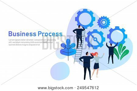 Business Process. Flat Design Concept For Team Building. Hands With Gears. Cooperation Working Toget