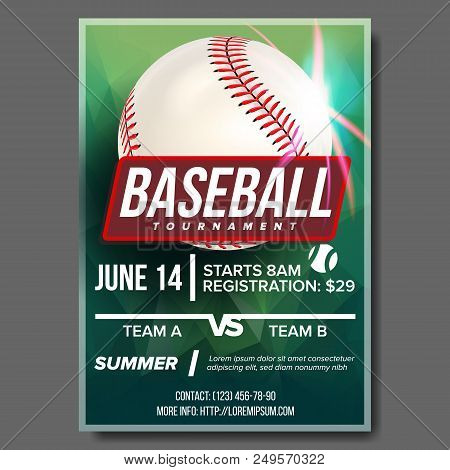 Baseball Poster Vector. Baseball Ball. Design For Sport Bar Promotion. Baseball Club, Academy Flyer.