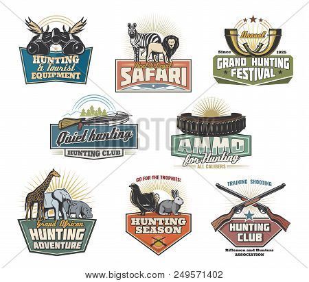 Safari Hunting Sport Icons And Signs. Real And Legal Safari During Hunting Season Retro Emblems, Vec