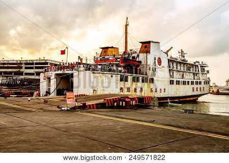 Haikou, China - April 20, 2018: Passenger Ship Wharf, Passengers Are Waiting For Departure, Evening