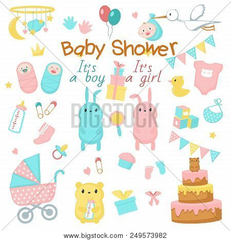 Baby Shower Icon Set. Vector Hand Drawn Illustration Of Cute Newborn Babies, Funny Pink And Blue Ani