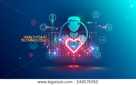Modern Technology In Healthcare, Medical Diagnosis. Online Medicine Infographic Concept. Artificial