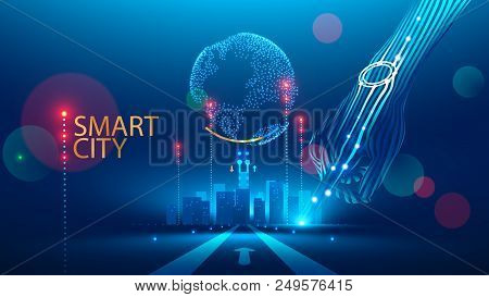 Smart City Communication With Global Network And Urban Infrastructure. Wireless Connection Technolog