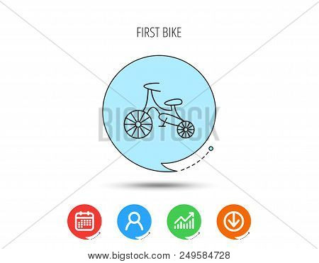 Bike Icon. Kids Run-bike Sign. First Bike Transport Symbol. Calendar, User And Business Chart, Downl