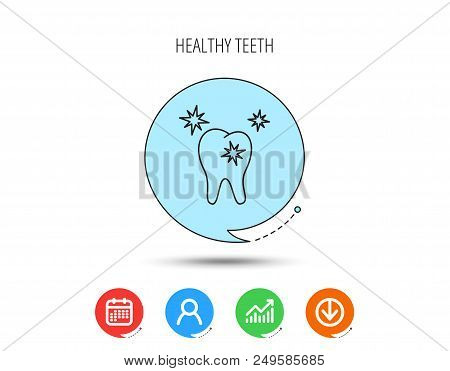 Healthy Tooth Icon. Dental Protection Sign. Calendar, User And Business Chart, Download Arrow Icons.