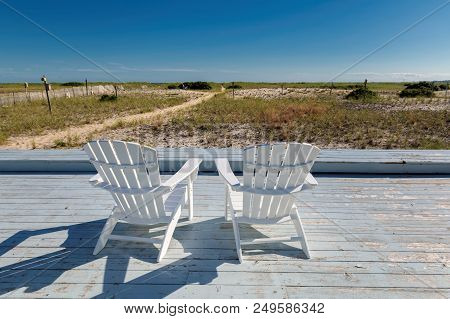 Beach Chairs On The Beach At Sunny Summer Day In Cape Cod, Massachusetts, Usa.  Summer Vacation And