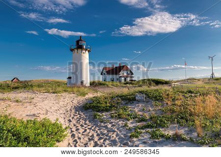 Lighthouse Point On Beach Dunes. Race Point Light Lighthouse In Cape Code, New England, Massachusett