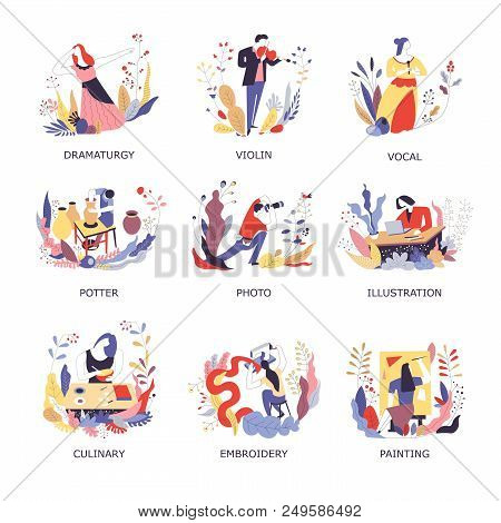 Art Hobby And Handicraft. Vector People At Dramaturgy, Violin Music Or Vocal Opera Singing, Pottery