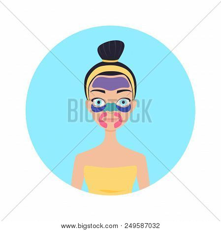 A Girl With Different Mask Patches On Her Face. Skin Care Vector Illustration.