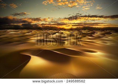 Sand Dunes In The Desert, Hot Dry Waves Under Cloudy Golden Sky. 3d Render Illustration.