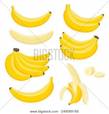 Bright Vector Set Of Bunches Of Fresh Banana. Sweet Cartoon Single, Peeled Banana And Bunch Of Banan