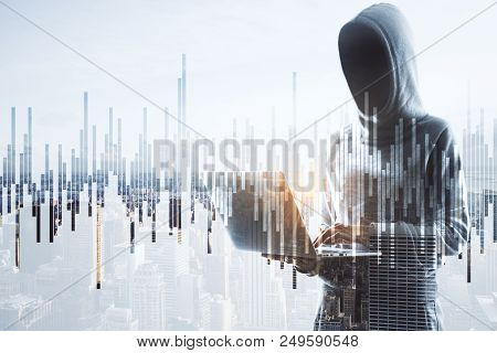 Cybercrime, Hacking And Technology Crime. Double Exposure With No Face Hacker With Laptop And Financ