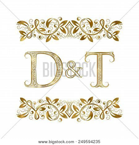 D And T Vintage Initials Logo Symbol. The Letters Are Surrounded By Ornamental Elements. Wedding Or