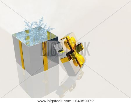 Open box and snowflakes