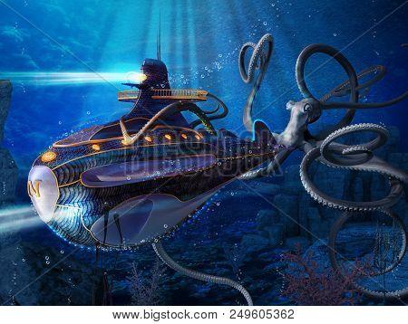 Captain Nemo Nautilus Submarine Attack