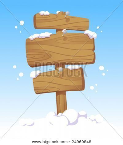 Wooden boards against of a winter landscape. Christmas illustration.
