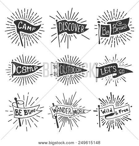 Set Of Adventure, Outdoors, Camping Pennants. Retro Monochrome Labels With Light Rays. Hand Drawn Wa