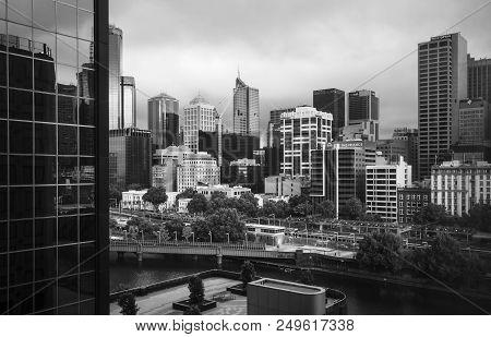 Melbourne, Australia - December 11, 2014: Black And White Image Of Melbourne Skyline. Melbourne Is T