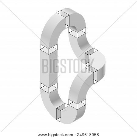 Abstract Curved Vector Shape Reminiscent Of Technological Development, Nanotechnology Component. Iso