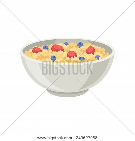 Cartoon Icon Of Oatmeal Porridge Or Rice With Blueberry And Strawberry In Ceramic Bowl. Delicious An