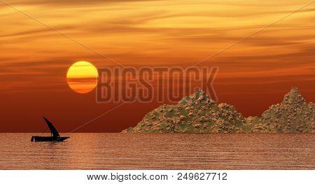 junk floating near a rocky beach at sunset.3D render.