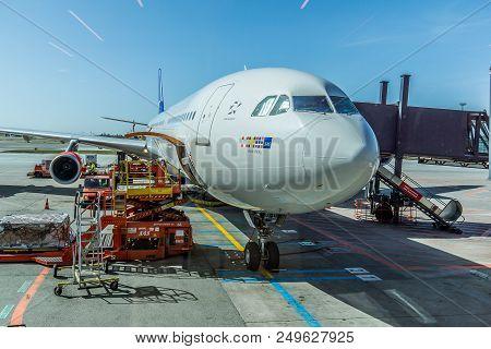 Sas Airbus A 330 Rurik Viking Waiting For Catering And Passengers At Copenhagen Airport, April 11, 2