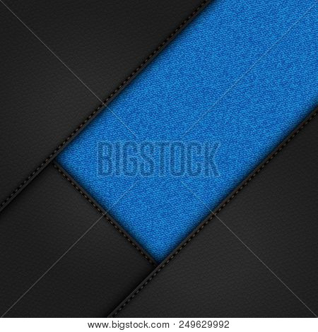 3d Illustration Of Black Leather Corners With Stitching And Blue Denim Material Background