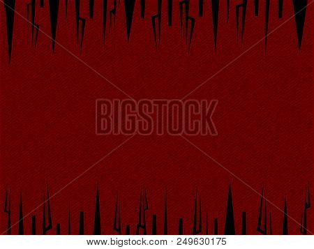 Vintage Red Landscape Material Background With Black Tribal Frame Design