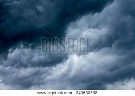A Sky With Dark Dramatic Clouds During A Storm Or A Storm