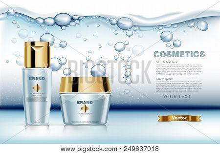 Hydration water cosmetic set Vector realistic. Product packaging mock up. Blue golden bottles cream and lotion. Water splash background poster