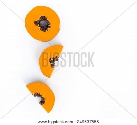 Closeup Top View Papaya Fruit On White Background, Food Healthy Concept