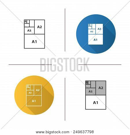 Paper Sizes Icon. Paper Sheet Formats. A3, A1, A2. Flat Design, Linear And Color Styles. Isolated Ve