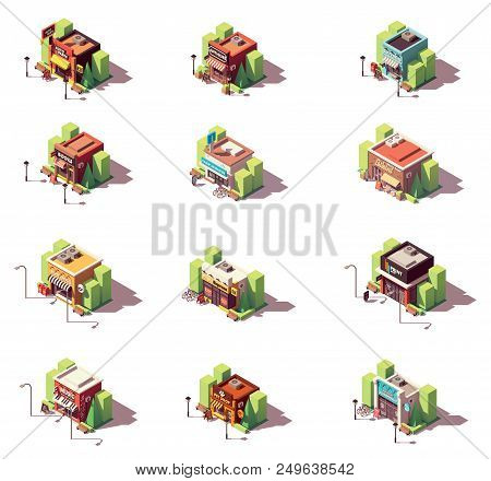 Vector Isometric Shop And Stores Icon Set. Includes Auto Parts Shop, Antique And Souvenir Gift Shops