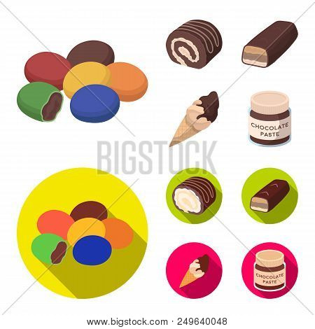 Dragee, Roll, Chocolate Bar, Ice Cream. Chocolate Desserts Set Collection Icons In Cartoon, Flat Sty
