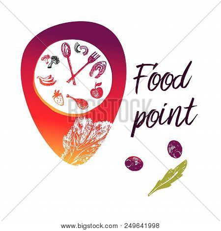 Concept Food Point Template Logo Sign Badge For Cafe Restaurant