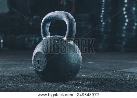 Kettlebell Training In Gym. Kettlebell On The Floor