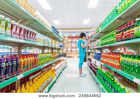 April 27, 2012-nanchang China: Consumers Purchase Goods From All Over The World In An Imported Super