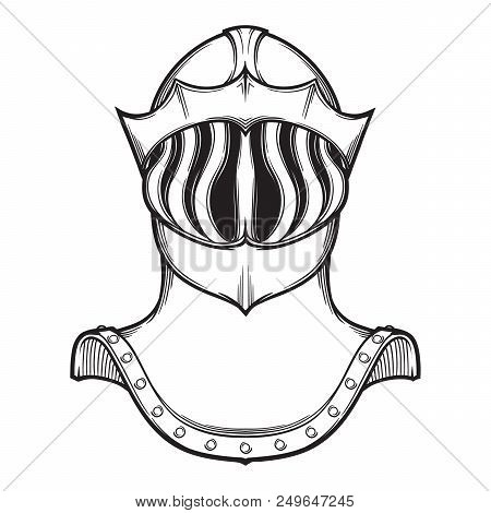 Late Medieval European Helmet Tipically Worn By Mounted Knights On Tournaments. Front View. Heraldry