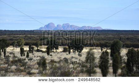 Yulara, Australia - Jun 11, 2018. The scenery landscape of Kata Tjuta known as Olgas in the Uluru-Kata Tjuta National Park in the Northern Territory state of Australia.
