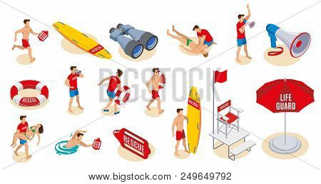 Beach Lifeguards Inventory Isometric Icons  Set Of Binocular Loudspeaker Umbrella Lifebuoy Surfboard