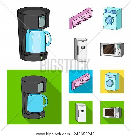 Home Appliances And Equipment Cartoon, Flat Icons In Set Collection For Design.modern Household Appl