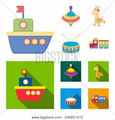 Ship, Yule, Giraffe, Drum.toys Set Collection Icons In Cartoon, Flat Style Vector Symbol Stock Illus