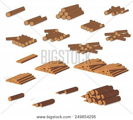 Wooden Logs. Brown Bark Of Felled Dry Wood. Purchase For Construction. Vector Illustration. A Set Of